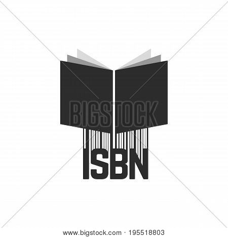 black isbn with barcode and book. concept of scanning, identifying, brochure key, commerce, marketing, numerical. isolated on white background. flat style trend modern logo design vector illustration