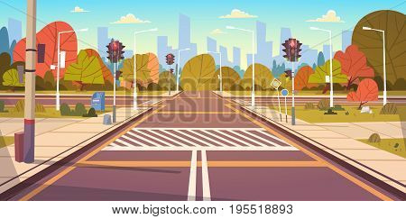 Road Empty City Street With Crosswalk And Traffic Lights Flat Vector Illustration