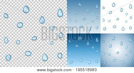 Realistic vector water droplets on a transparent background. Examples on different blue backgrounds. Vector illustration