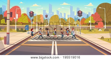 Group Of School Children Crossing Road On Crosswalk With Traffic Lights Flat Vector Illustration