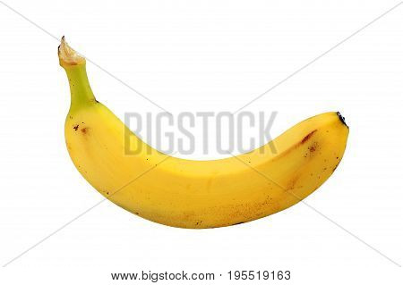 Ripe banana cut out on and isolated on a white background