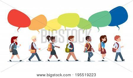 Group Of Pupils Mix Race Walking With Chat Bubbles School Children Isolated Diverse Small Primary Students Flat Vector Illustration