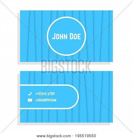 business card with blue stripes. concept of businesslike ceremony, flyer, visual identity, visiting card. isolated on white background. flat style trend modern logo design vector illustration