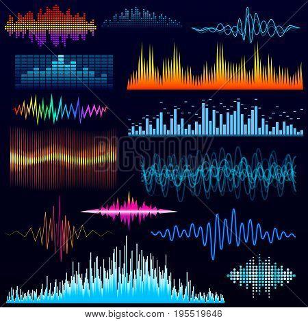 Vector digital music equalizer audio waves design template audio signal visualization illustration. Multitrack editing system soundtrack line bar spectrum electronic.