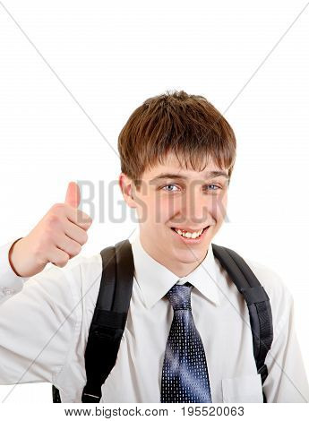 Happy Teenager with Knapsack shows Thumb Up Gesture Isolated on the White Background