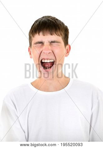 Cheerful Teenager Yell Isolated on the White Background