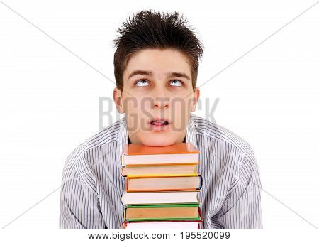Bored and Tired Student with the Books Isolated on the White Background