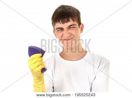 Annoyed Teenager with Bath Sponge Isolated On The White Background