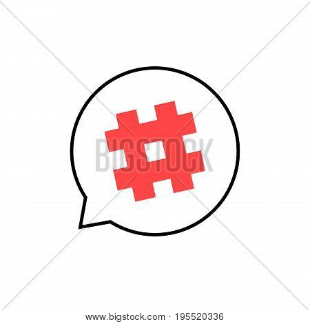 outline speech bubble with red hashtag. concept of micro blogging, pr, popularity, blogger, grille, grid. isolated on white background. flat style trend modern hashtag logo design vector illustration