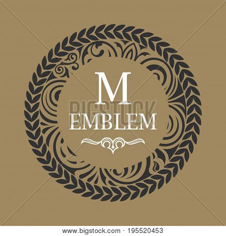 Round calligraphic royal gold emblem. Vector floral baroque monogram. Symbol for cafe, restaurant, shop, print, stamp. Vintage luxury letter M. Logo design template label for coffee, tea, business card