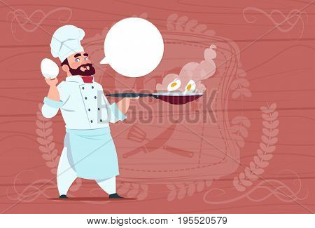 Chef Cook Holding Frying Pan With Eggs Smiling Cartoon Chief In White Restaurant Uniform Over Wooden Textured Background Flat Vector Illustration