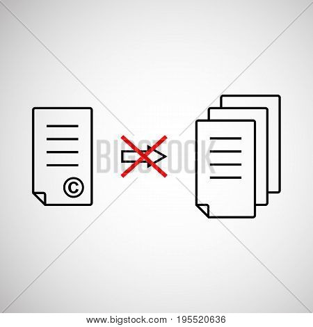 thin line copyright symbol like prohibit copying. concept of exclusive, prohibit, justice, legal, restricted access. isolated on gray background. flat linear style modern design vector illustration