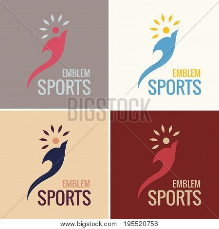 Sports emblem. vector business emblem torch fire. icon logo set