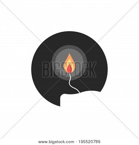 simple candle flame in circle. concept of flaming candlestick, christianity attributes, shining meditation. isolated on white background. flat style trend modern candle logo design vector illustration