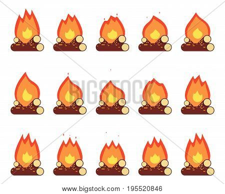 Motion Animation Flame Burn Night Camp Campfire Game Element Isolated Frames Flat Set Design Vector Illustration
