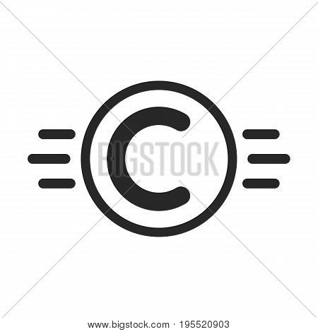 copyright symbol like intellectual property. concept of copyright protection, visual identity, ownership, abc. isolated on white background. flat style trend modern c logo design vector illustration