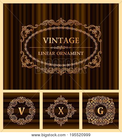 Vintage retro frame and monogram. Template greeting card wedding invitation. Line calligraphic. Vector design labels gold place for text. Flourishes background, letter V, X, G