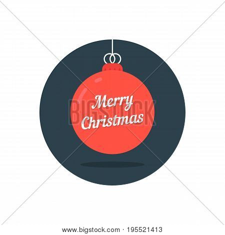 red xmas ball icon like merry christmas. concept of x mas party, hanging toy, tradition, nativity, yuletide. isolated on white background. flat style trend modern logo design vector illustration