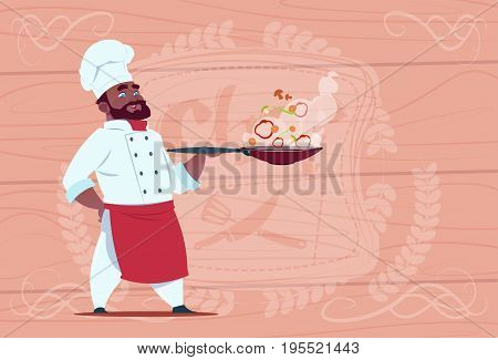 African American Chef Cook Holding Frying Pan With Hot Food Smiling Cartoon In White Restaurant Uniform Over Wooden Textured Background Flat Vector Illustration