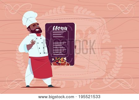 African American Chef Cook Holding Restaurant Menu Smiling Cartoon Chief In White Uniform Over Wooden Textured Background Flat Vector Illustration