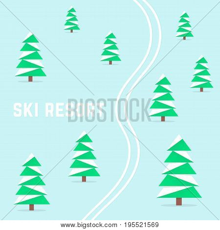 ski resort with downhill skiing. concept of hibernal rest, wintertime, brumal, alpine, wintry relax, terrain, wilderness, health recreational area. flat style trend modern design vector illustration