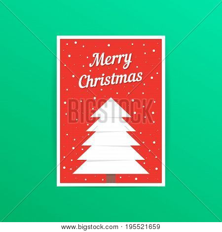 red merry christmas card with snowfall. concept of traditional, a4 header, decorative, ornate, event party. isolated on green background. flat style trend modern postal design vector illustration