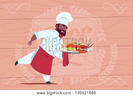 African American Chef Cook Holding Tray With Lobster Smiling Cartoon Chief In White Restaurant Uniform Over Wooden Textured Background Flat Vector Illustration