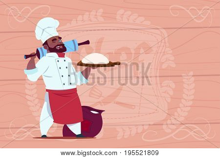 African American Chef Cook Holding Flour And Dough Smiling Cartoon Chief In White Restaurant Uniform Over Wooden Textured Background Flat Vector Illustration