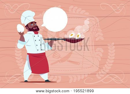 African American Chef Cook Holding Frying Pan With Eggs Smiling Cartoon Chief In White Restaurant Uniform Over Wooden Textured Background Flat Vector Illustration