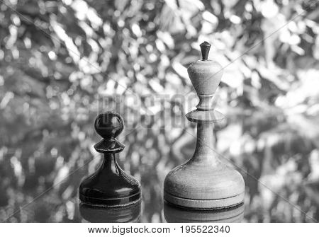 Black pawn and white queen of chess on bokeh background