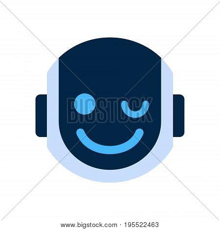 Robot Face Icon Smiling Face Wink Emotion Robotic Emoji Vector Illustration