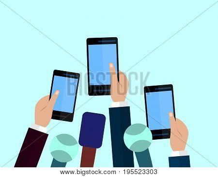 Set of Microphones and smartphones. Journalism concept Mass Media TV Interview Breaking News press conference concept. Microphones and smartphones in reporter hands. Flat design.