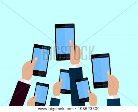 Set of smartphones. Journalism concept Mass Media TV Interview Breaking News press conference concept. smartphones. in reporter hands. Flat design.
