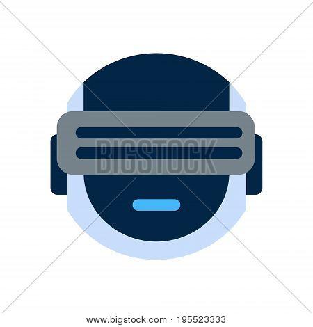 Robot Face Icon Smiling Face Wearing Digital Glasses Emotion Robotic Emoji Vector Illustration