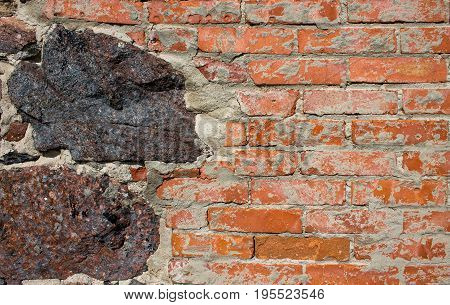 Old brick's wall with stone exterior background with good texture