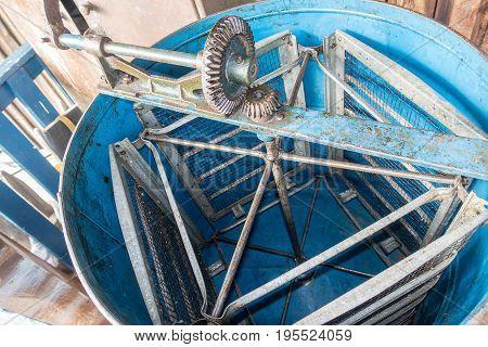 Old Blue Honey Extractor. Honey Extractor Manual Beekeeping Equipment