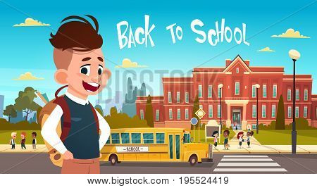 Boy Going Back To School Over Group Of Pupils Walking From Yellow Bus Primary Schoolchildren Students Flat Vector Illustration