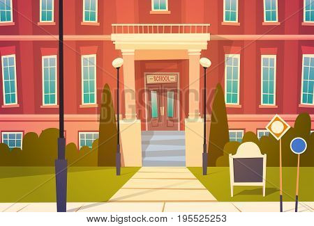 Modern School Building Exterior Welcome Back To Education Concept Flat Vector Illustration