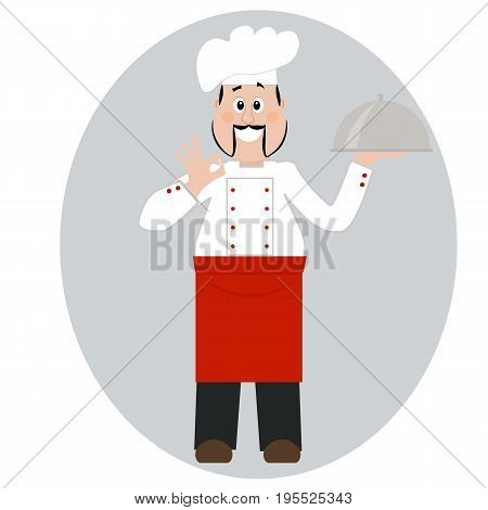 A professional chef. Cook with a dish isolated on a white background. Vector illustration. Cartoon character.
