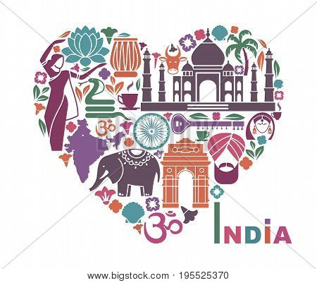 Traditional symbols of India in the form of heart