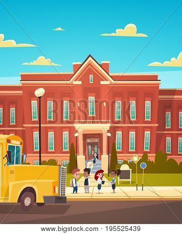 Group Of Pupils Mix Race Stand In Front Of School Building Primary Schoolchildren Talking Students Flat Vector Illustration
