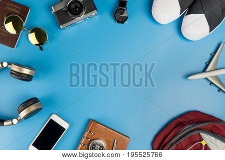 Travel accessories with center blue copy space