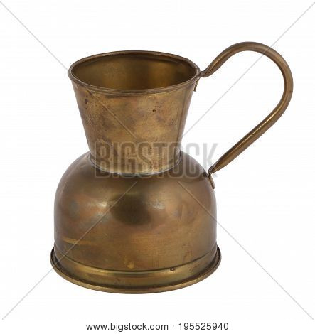 Vintage cooper empty  mug, isolated on white