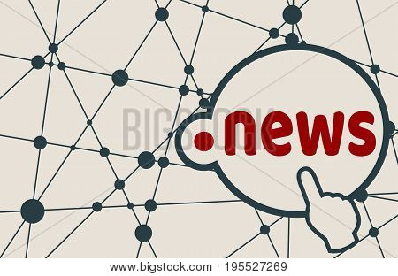 Dot news domain name. Internet and web telecommunication concept. Molecule And Communication Background. Connected lines with dots.