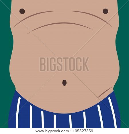 Man with fat beer belly. Vector illustration