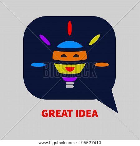 Bubble with light bulb inside. Logo great ideas. Vector illustration