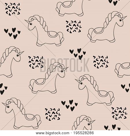 Unicorn. Vector seamless pattern with unicorns. Cute decorative background for design and decoration of children's textiles clothes wallpapers covers packaging and wrapping paper