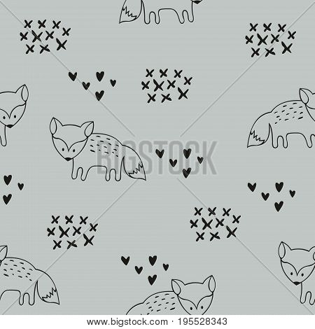 Vector seamless pattern with foxes. Decorative background for design of a children's room clothes wallpaper packaging and wrapping paper