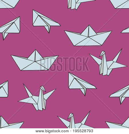 Origami. Vector seamless pattern with origami figures on a pink background for design and decoration of textiles wallpaper children's clothing covers packaging and wrapping paper