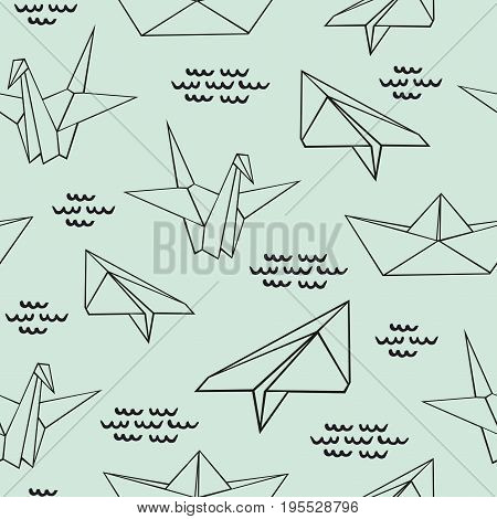 Origami. Seamless contour pattern with origami figures. Decorative vector background for design and decoration of surfaces textiles wallpapers children's clothing packaging and wrapping paper
